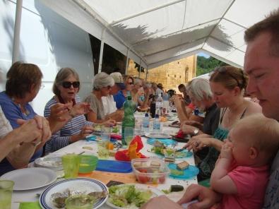 Summer market communal meal, Fajoles
