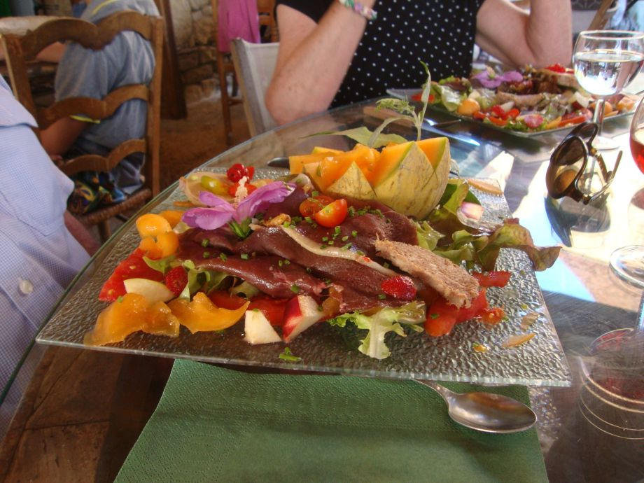 This duck and half a melon salad was served at the Relais du Paysan in Carlux, between Sarlat and Souillac.
