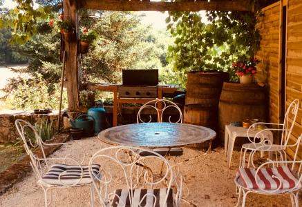 Shady 'barrel room' dining in the barn